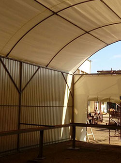 Halls, warehouses, tents, curtains